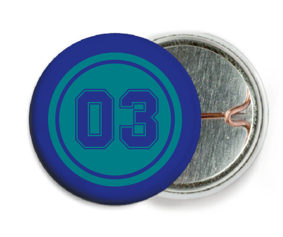 custom pin back buttons - teal & royal - soccer (set of 6)