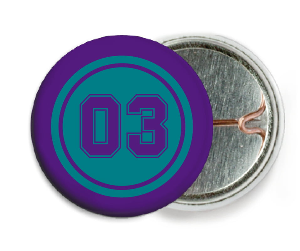 custom pin back buttons - teal & purple - soccer (set of 6)