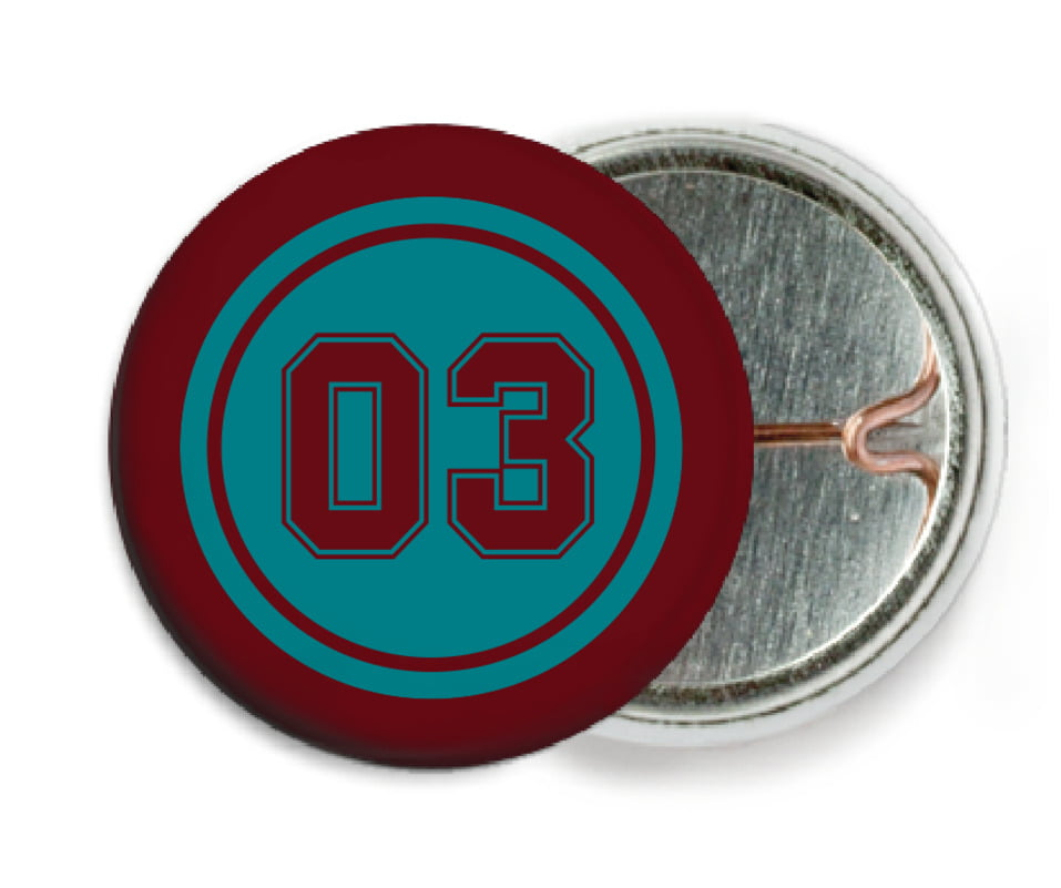 custom pin back buttons - teal & maroon - soccer (set of 6)
