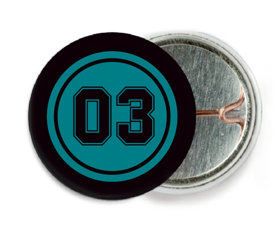 custom pin back buttons - teal & black - soccer (set of 6)