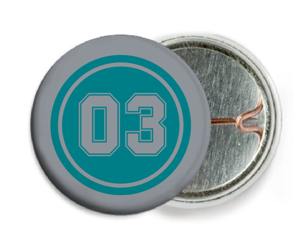custom pin back buttons - teal & silver - soccer (set of 6)