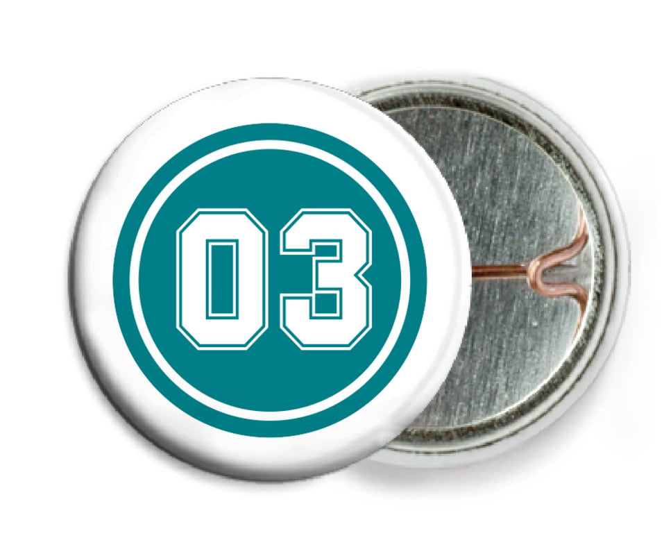 custom pin back buttons - teal & white - soccer (set of 6)