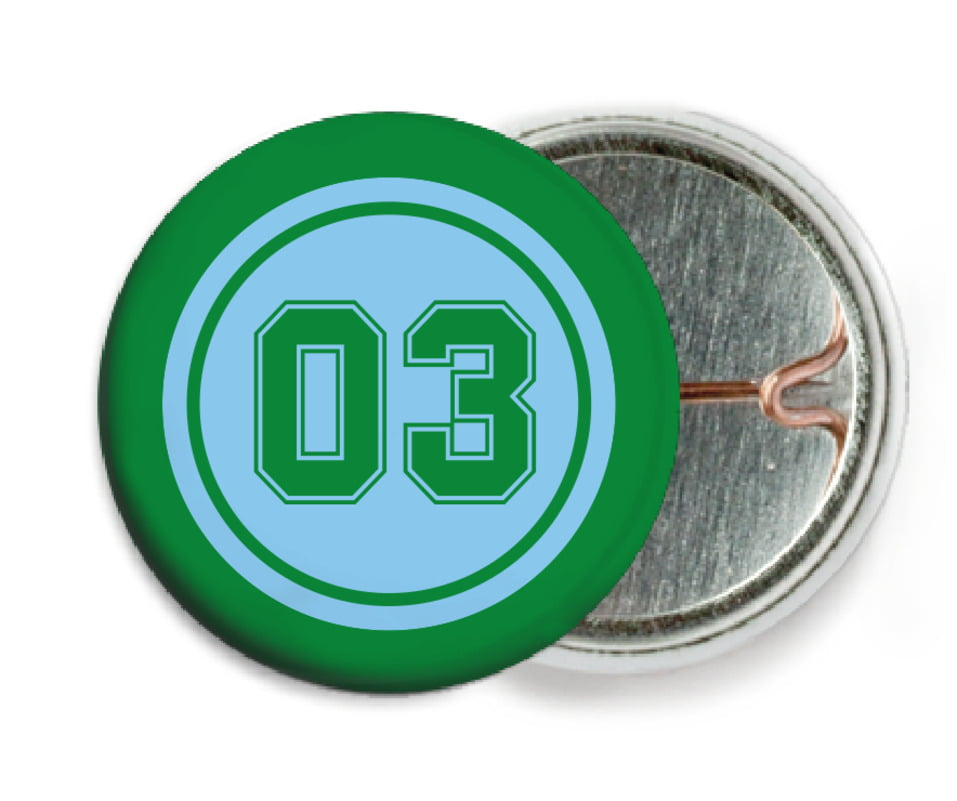 custom pin back buttons - light blue & green - soccer (set of 6)