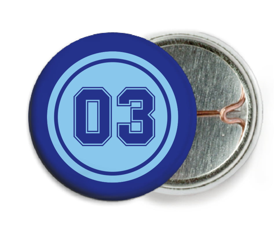 custom pin back buttons - light blue & royal - soccer (set of 6)