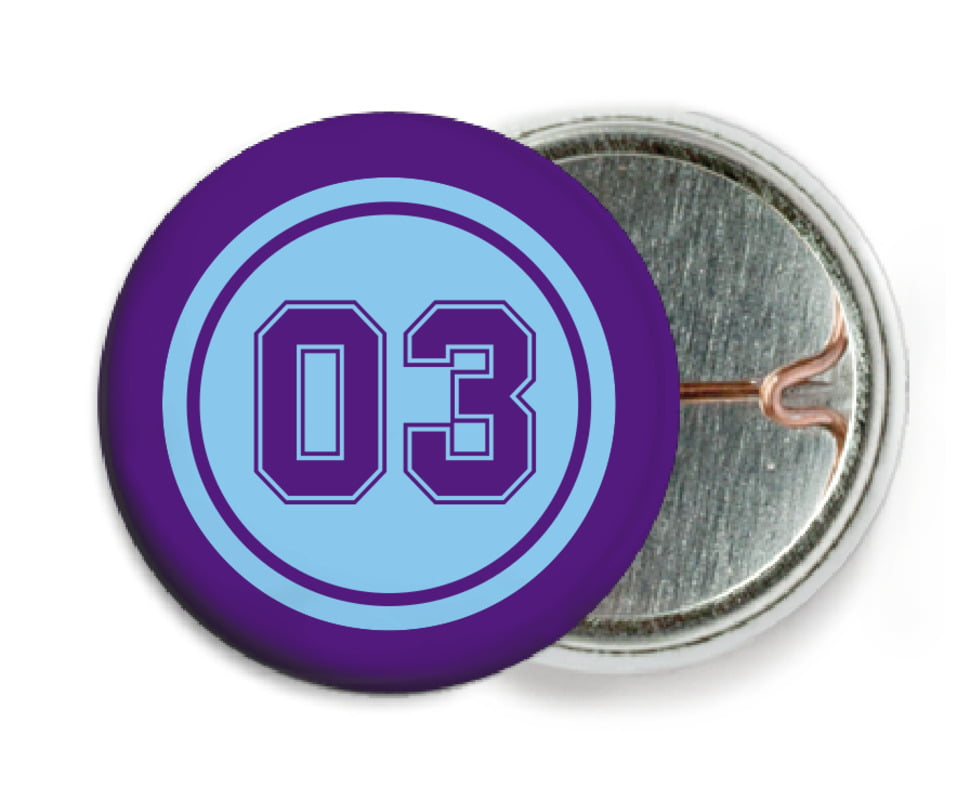 custom pin back buttons - light blue & purple - soccer (set of 6)