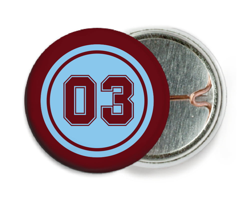custom pin back buttons - light blue & maroon - soccer (set of 6)