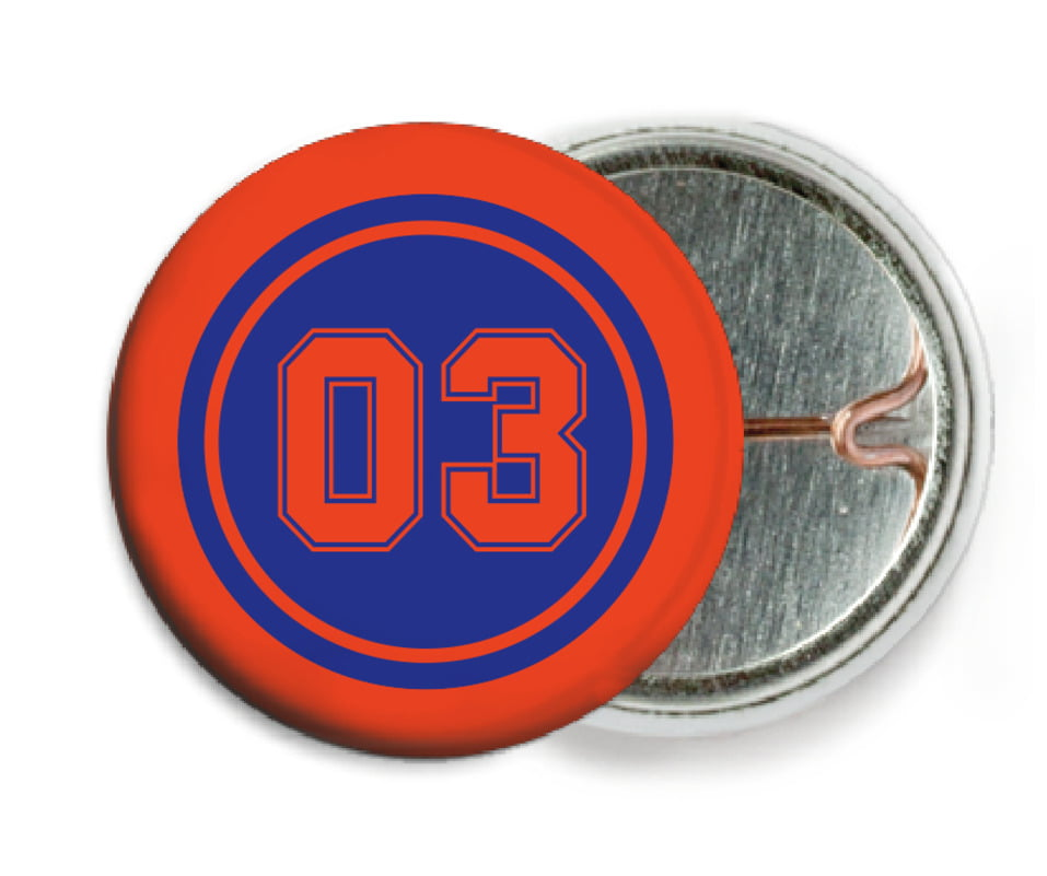 custom pin back buttons - royal & orange - soccer (set of 6)