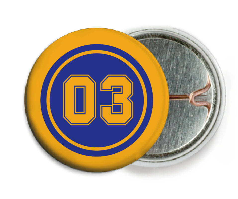 custom pin back buttons - royal & gold - soccer (set of 6)