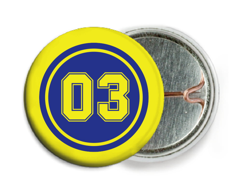 custom pin back buttons - royal & yellow - soccer (set of 6)