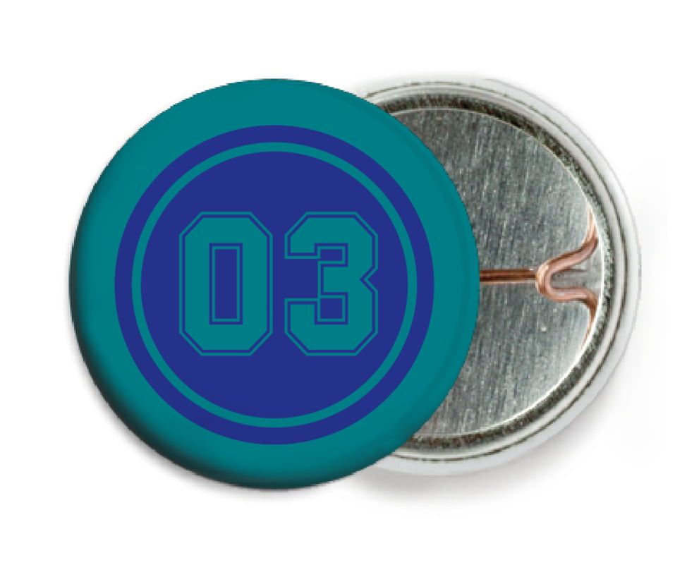 custom pin back buttons - royal & teal - soccer (set of 6)