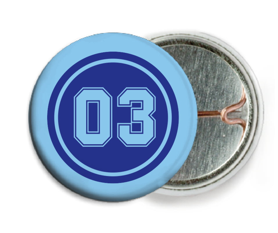 custom pin back buttons - royal & light blue - soccer (set of 6)