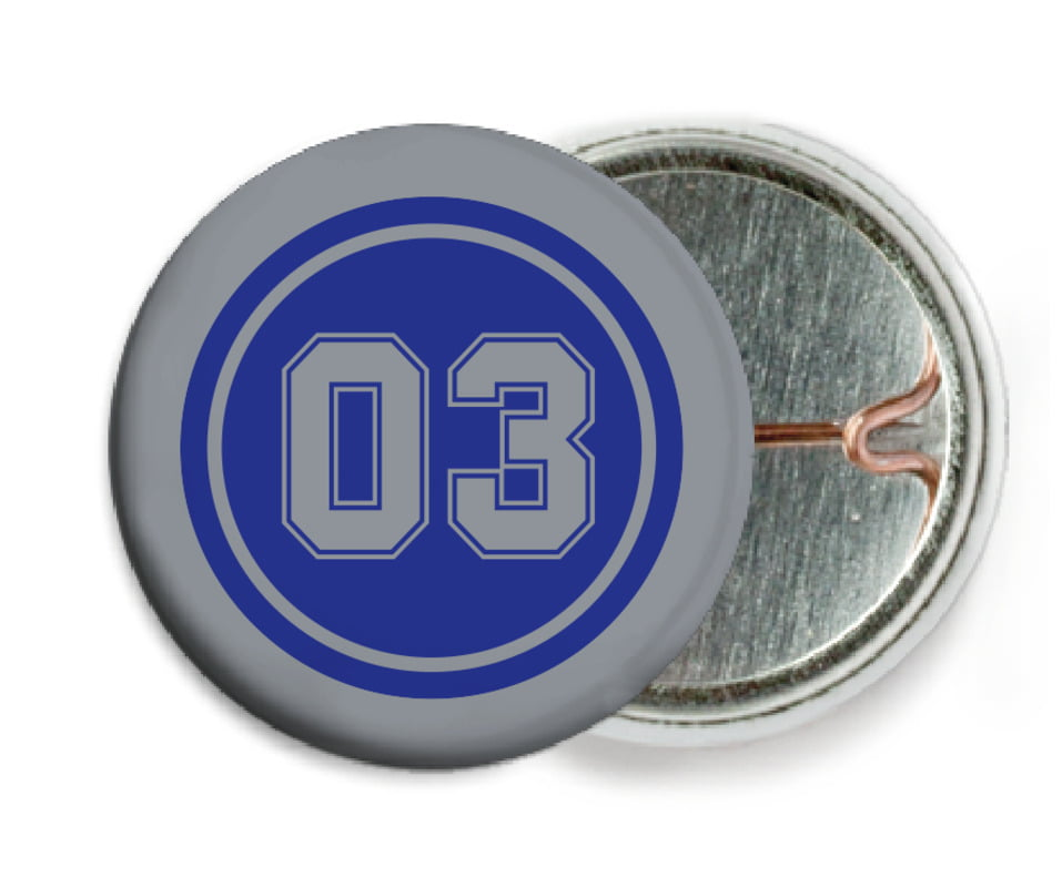 custom pin back buttons - royal & silver - soccer (set of 6)