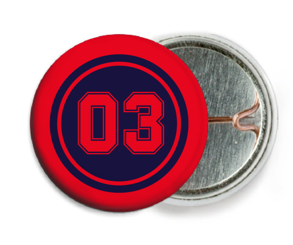 custom pin back buttons - navy & red - soccer (set of 6)