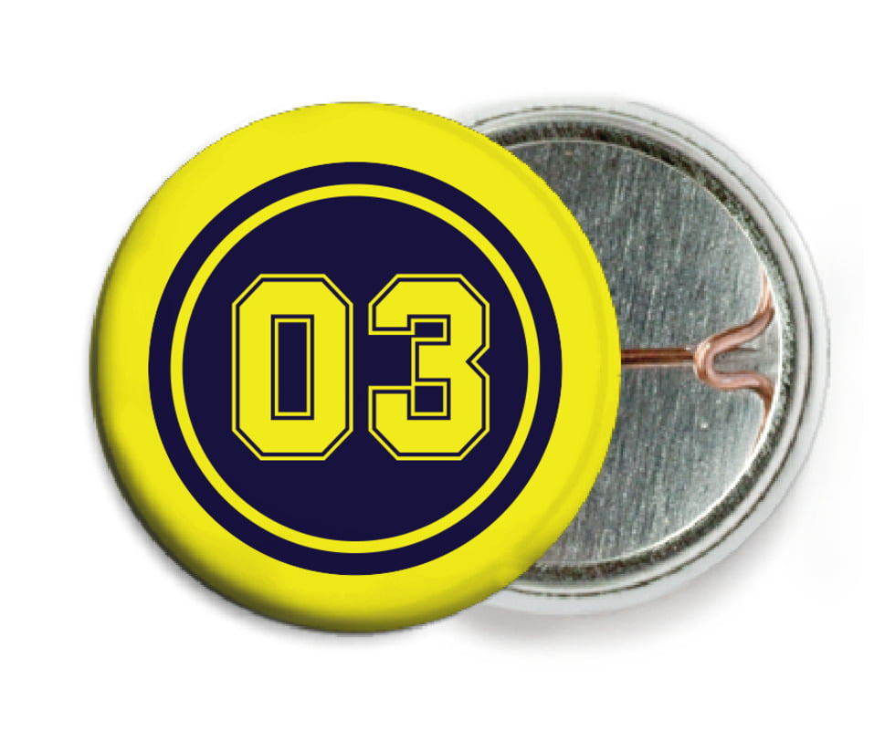 custom pin back buttons - navy & yellow - soccer (set of 6)