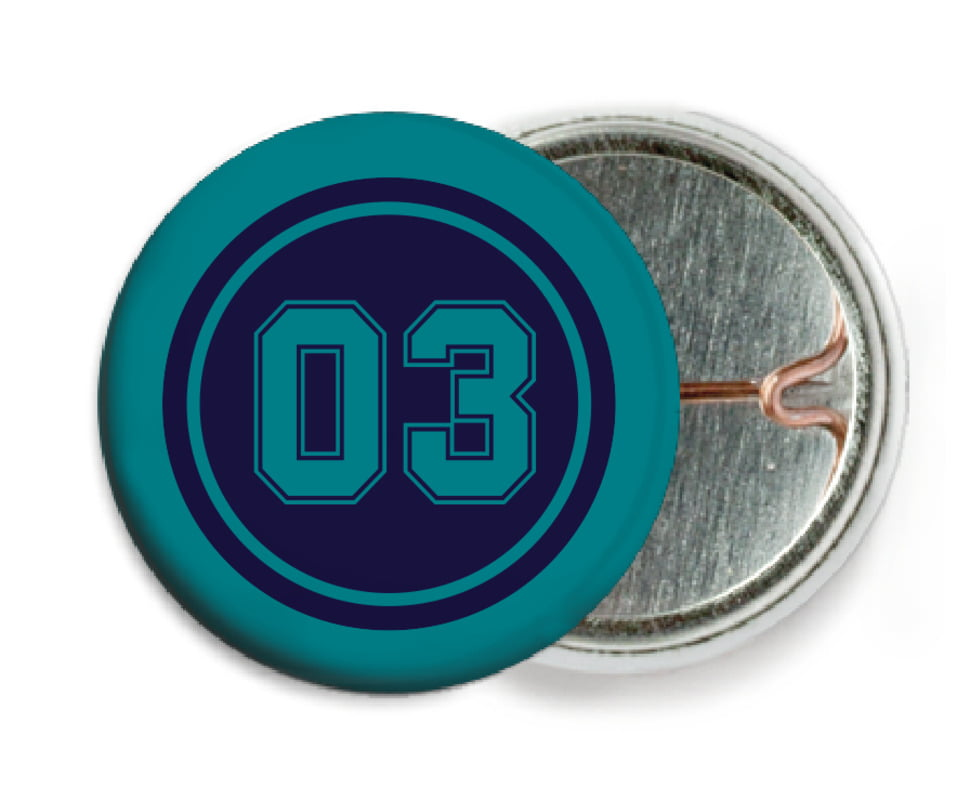 custom pin back buttons - navy & teal - soccer (set of 6)