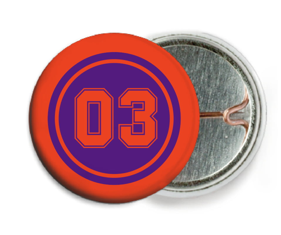 custom pin back buttons - purple & orange - soccer (set of 6)
