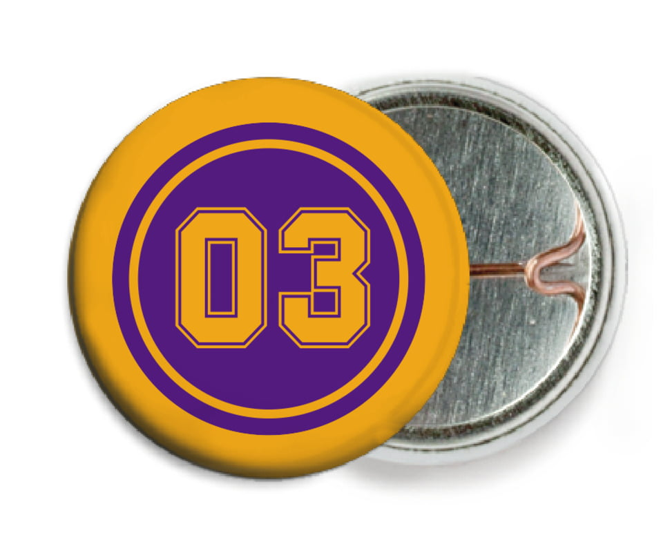 custom pin back buttons - purple & gold - soccer (set of 6)