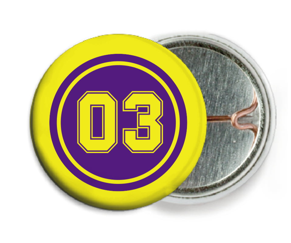 custom pin back buttons - purple & yellow - soccer (set of 6)