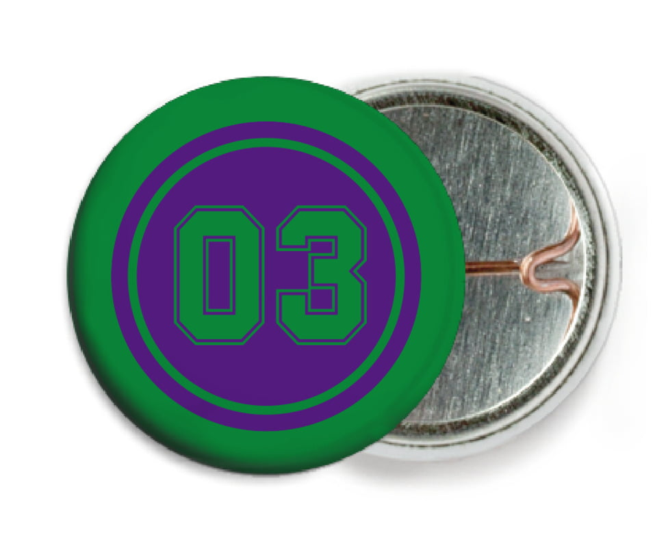 custom pin back buttons - purple & green - soccer (set of 6)