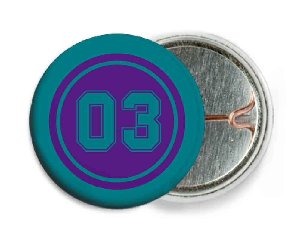 custom pin back buttons - purple & teal - soccer (set of 6)