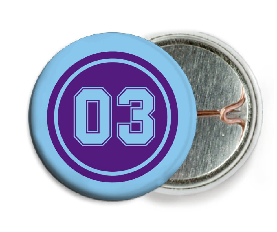 custom pin back buttons - purple & light blue - soccer (set of 6)