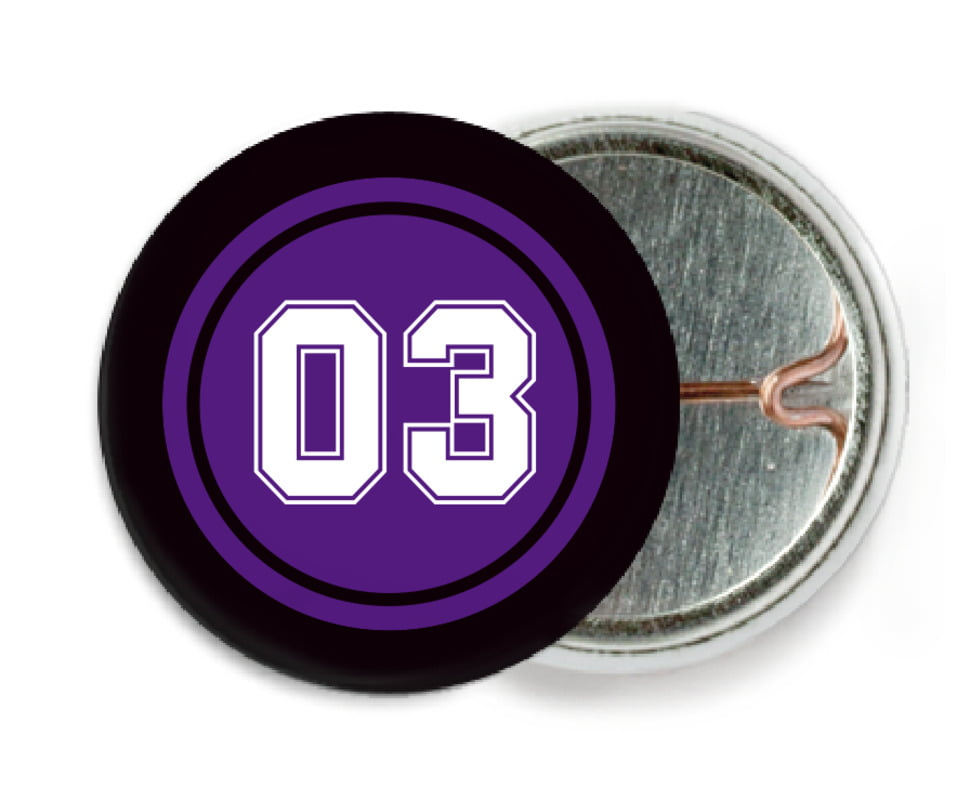 custom pin back buttons - purple & black - soccer (set of 6)