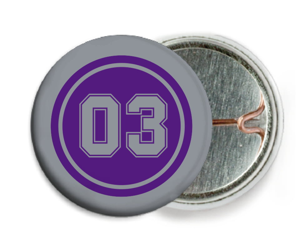 custom pin back buttons - purple & silver - soccer (set of 6)