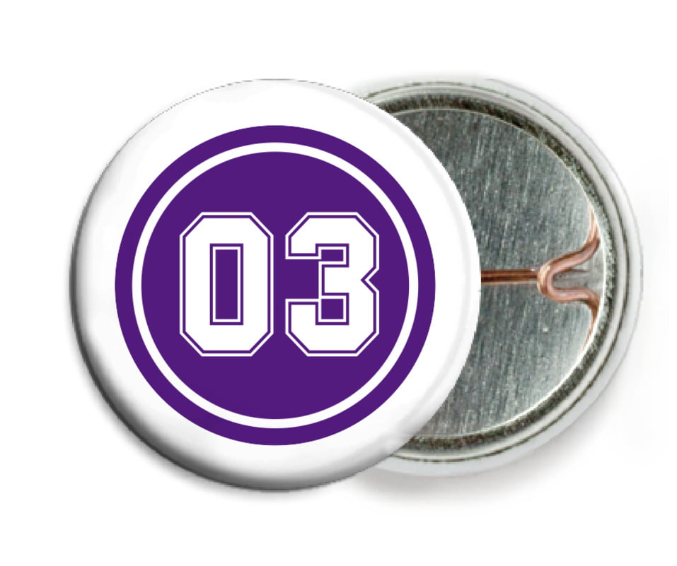 custom pin back buttons - purple & white - soccer (set of 6)
