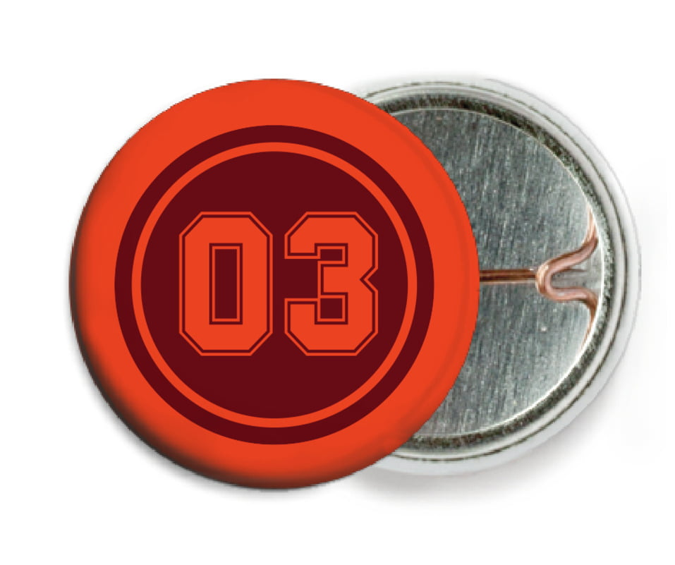 custom pin back buttons - maroon & orange - soccer (set of 6)