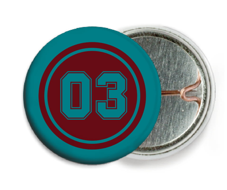 custom pin back buttons - maroon & teal - soccer (set of 6)