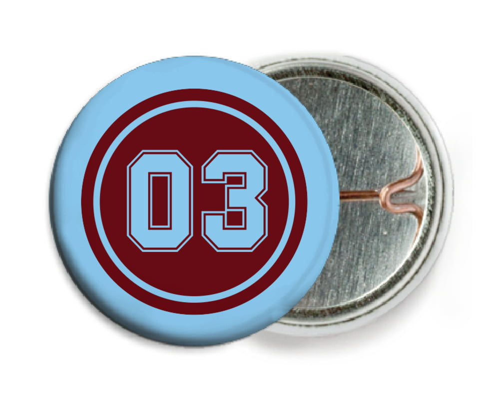 custom pin back buttons - maroon & light blue - soccer (set of 6)