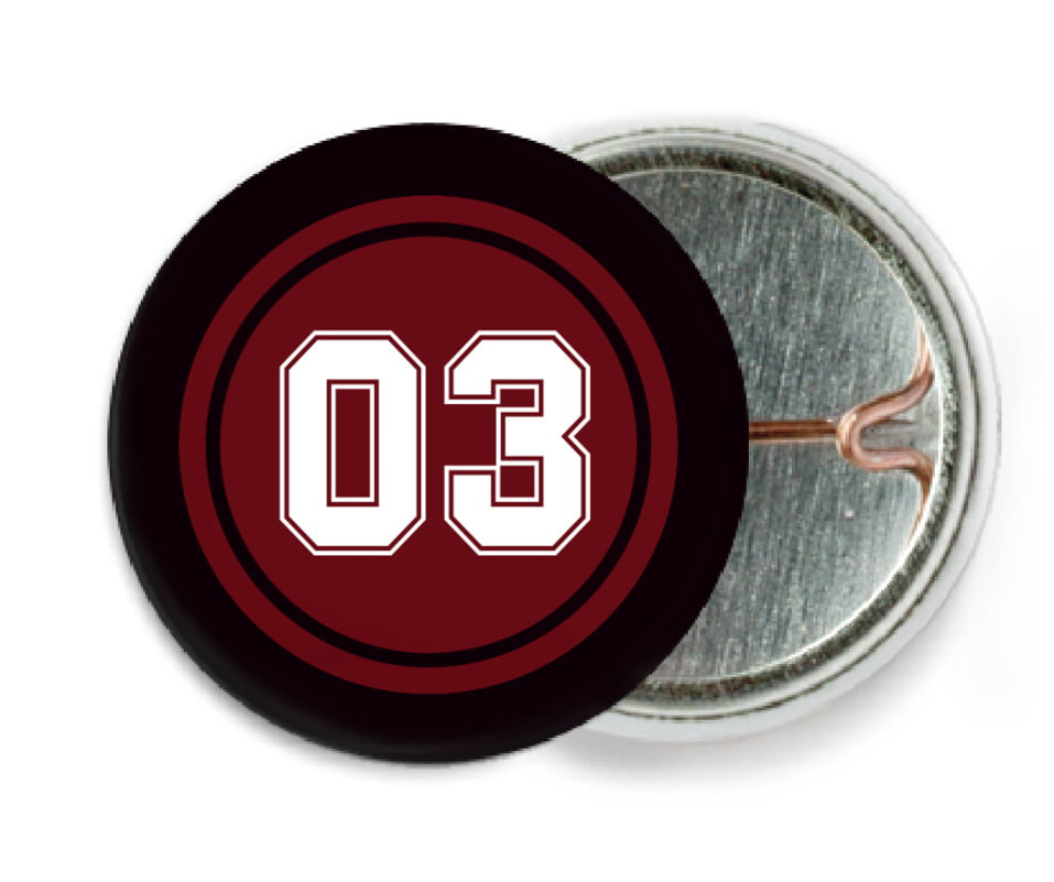 custom pin back buttons - maroon & black - soccer (set of 6)