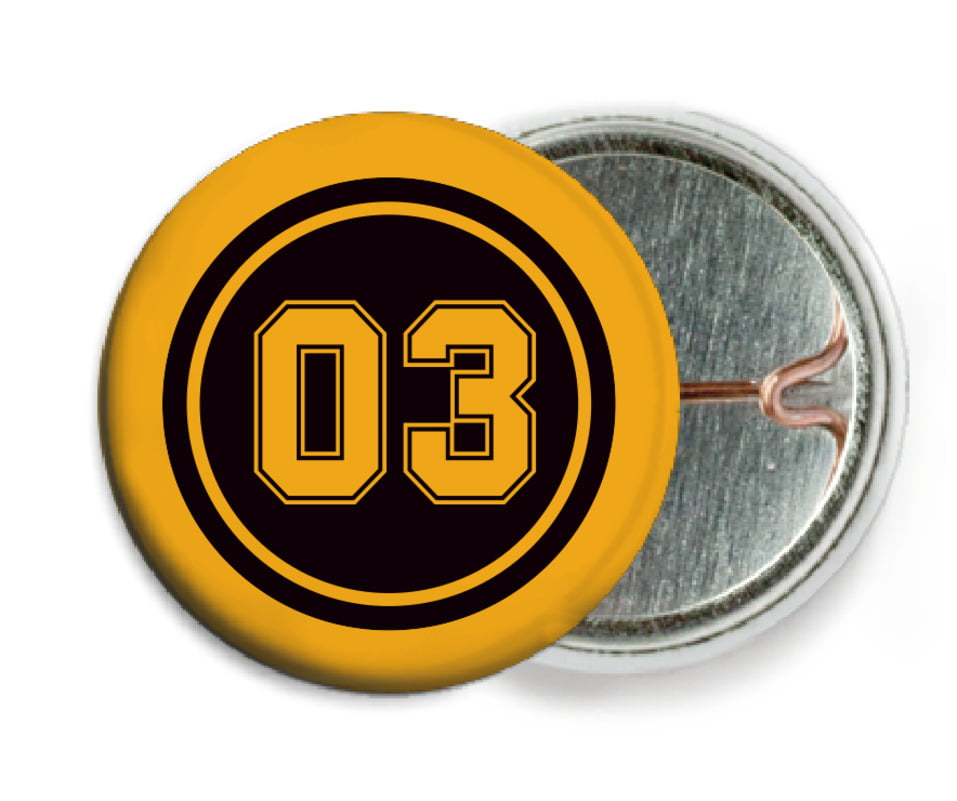 custom pin back buttons - black & gold - soccer (set of 6)
