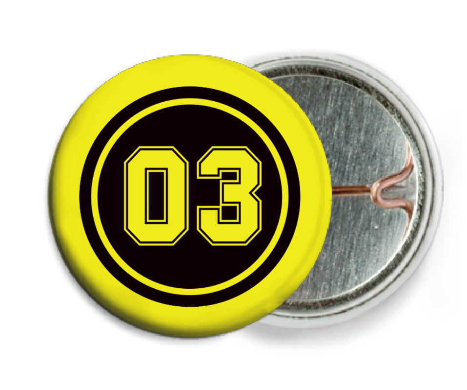 custom pin back buttons - black & yellow - soccer (set of 6)