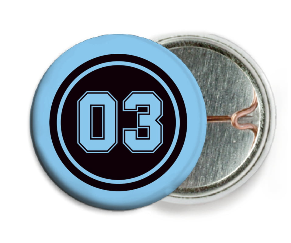 custom pin back buttons - black & light blue - soccer (set of 6)