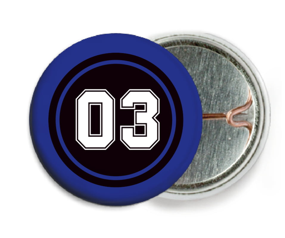 custom pin back buttons - black & royal - soccer (set of 6)
