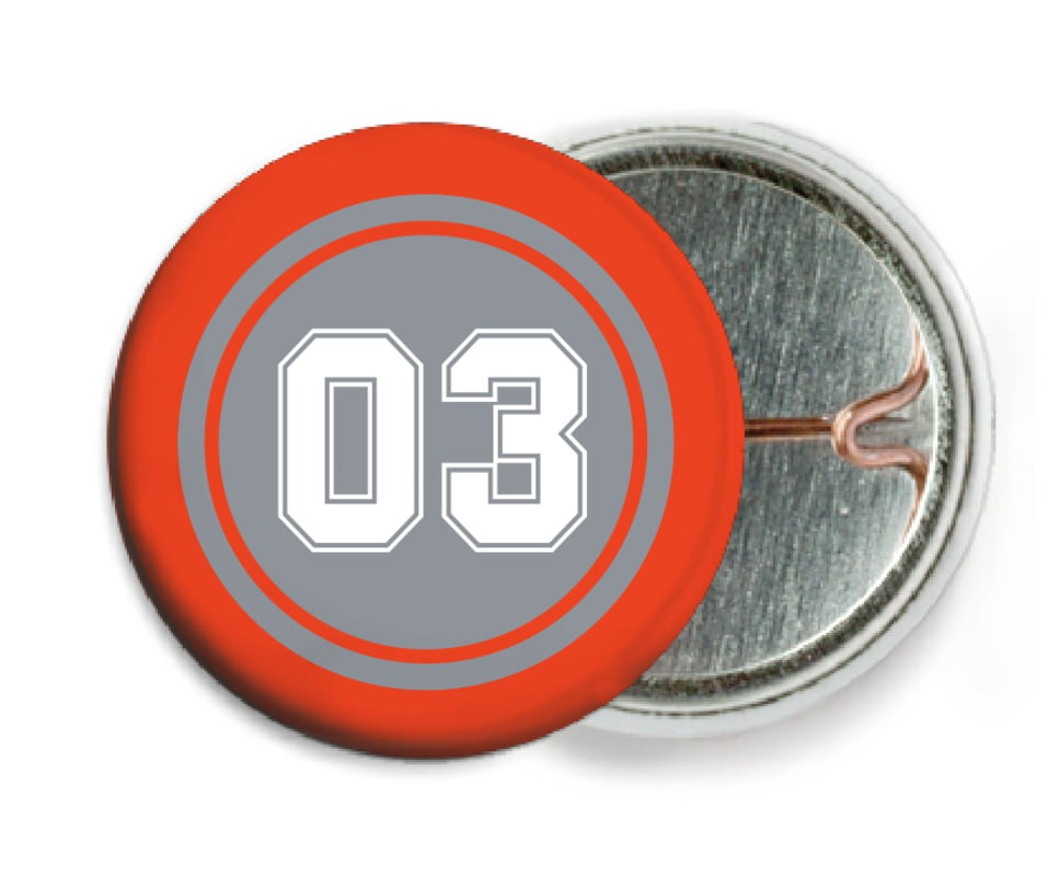 custom pin back buttons - silver & orange - soccer (set of 6)