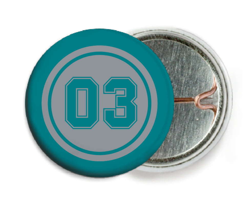 custom pin back buttons - silver & teal - soccer (set of 6)