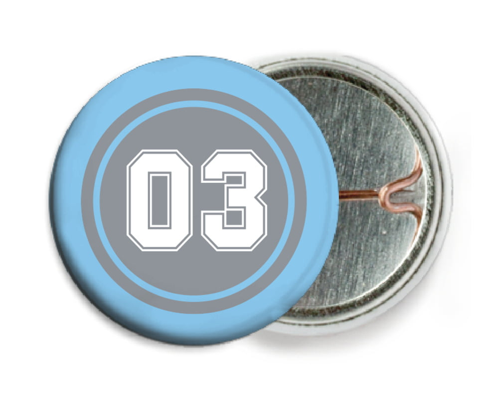 custom pin back buttons - silver & light blue - soccer (set of 6)