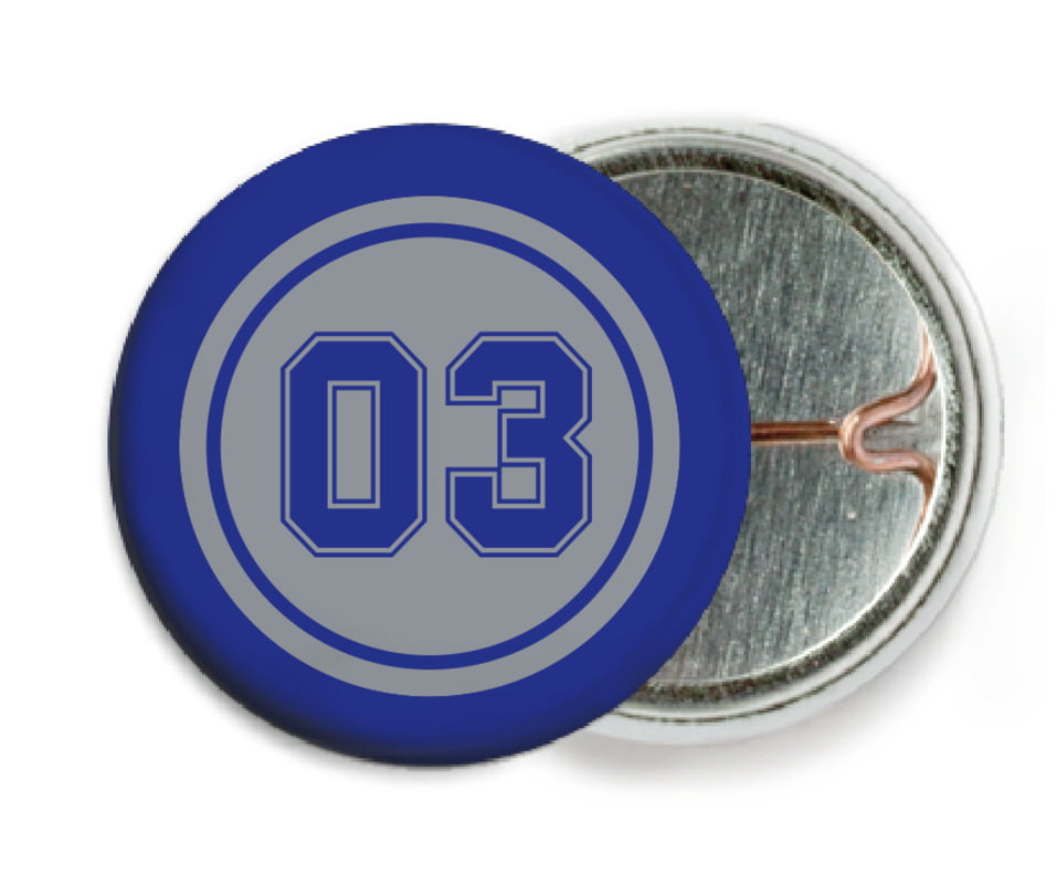 custom pin back buttons - silver & royal - soccer (set of 6)