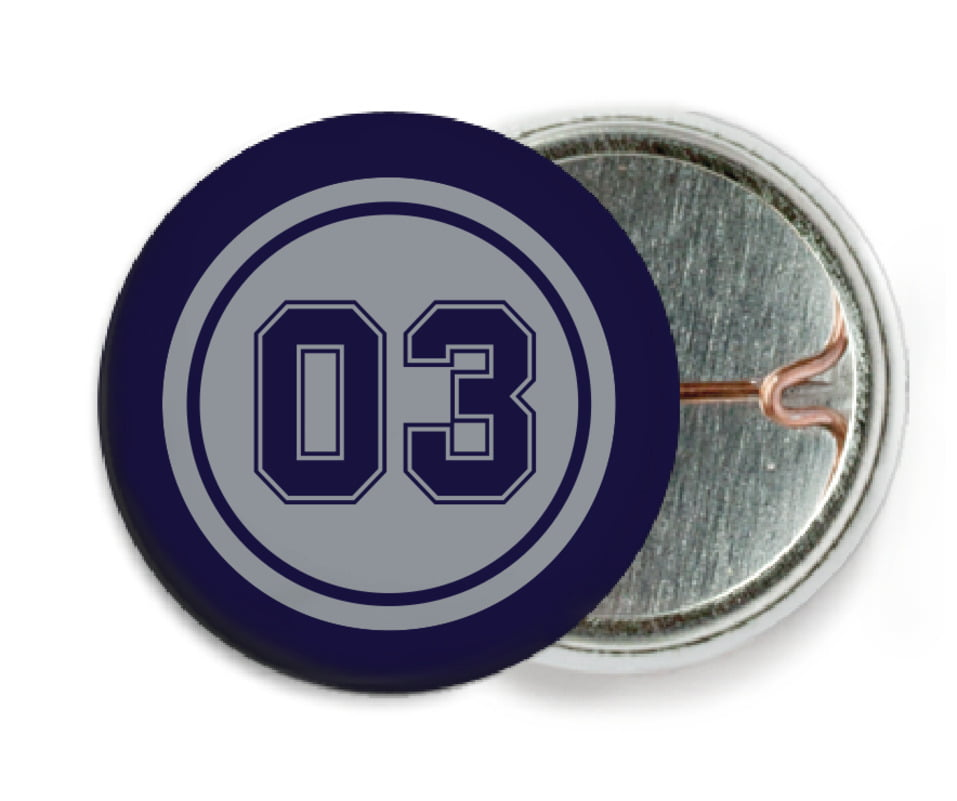 custom pin back buttons - silver & navy - soccer (set of 6)