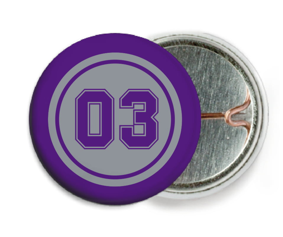 custom pin back buttons - silver & purple - soccer (set of 6)