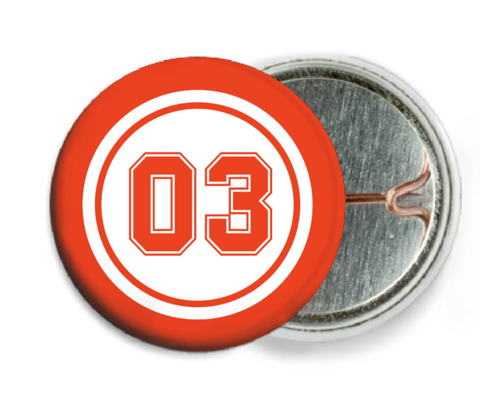 custom pin back buttons - white & orange - soccer (set of 6)