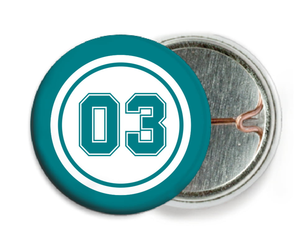 custom pin back buttons - white & teal - soccer (set of 6)