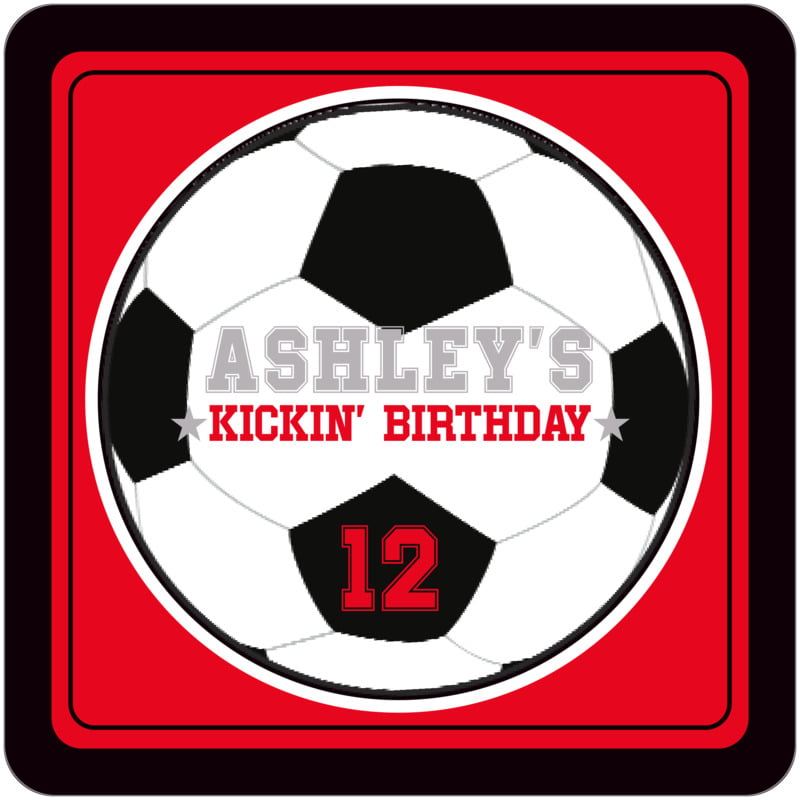 square beer coasters - red & black - soccer (set of 12)