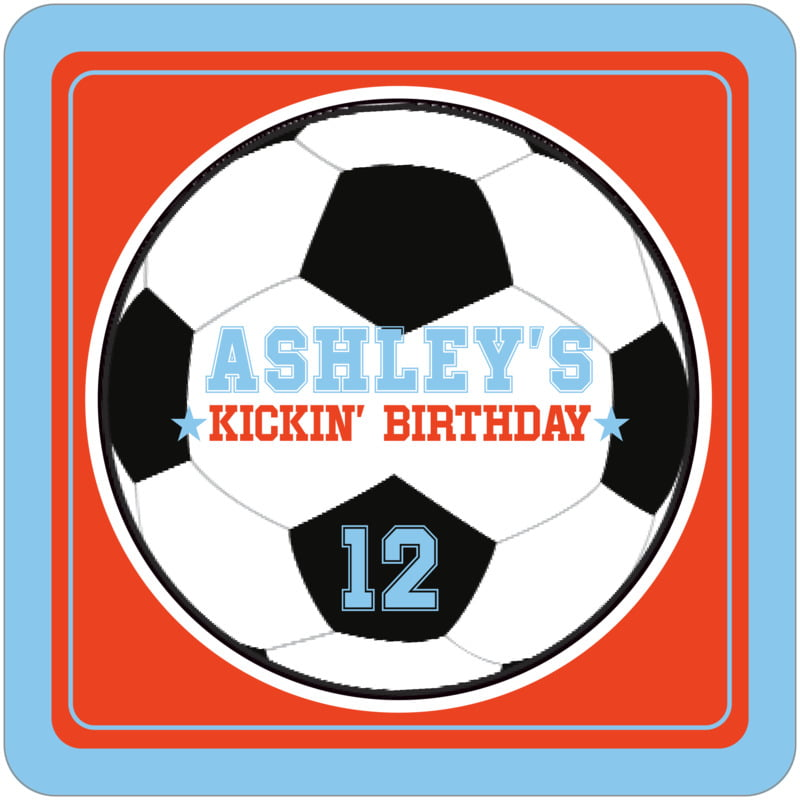 square beer coasters - orange & light blue - soccer (set of 12)