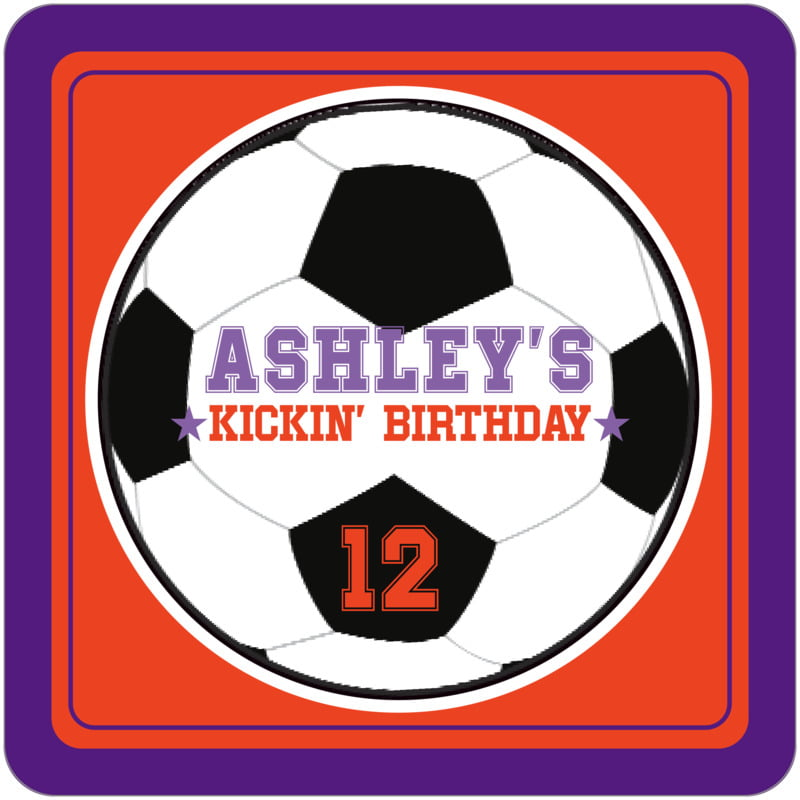 square beer coasters - orange & purple - soccer (set of 12)