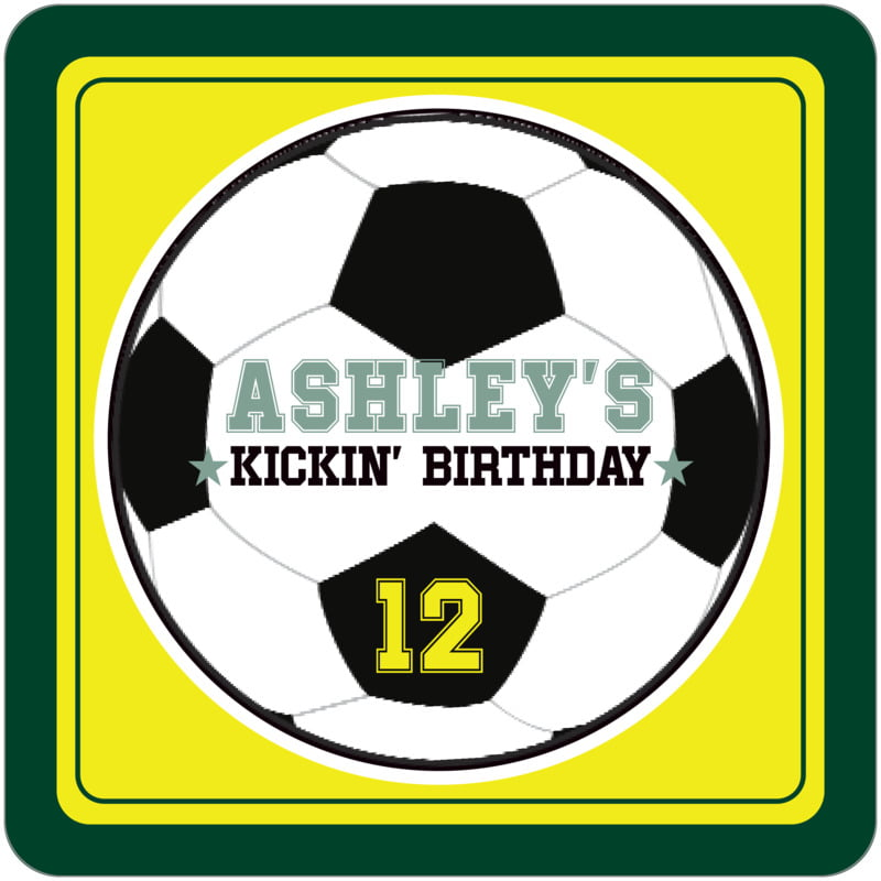 square beer coasters - yellow & forest - soccer (set of 12)