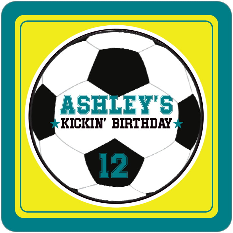 square beer coasters - yellow & teal - soccer (set of 12)