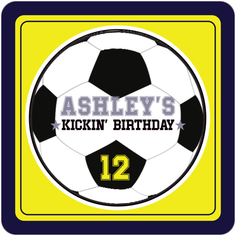 square beer coasters - yellow & navy - soccer (set of 12)